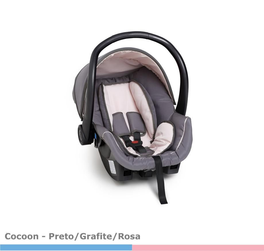 Bebê Conforto Cocoon Preto/Rosa bebe Galzerano