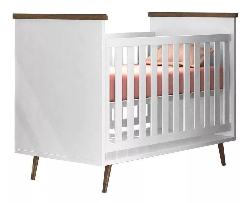 Berço Bebê Retrô 2 em 1 Branco Baby Estilo