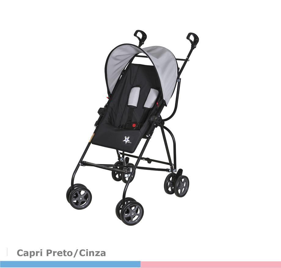 Carrinho de Bebê Capri Preto/Cinza  Galzerano