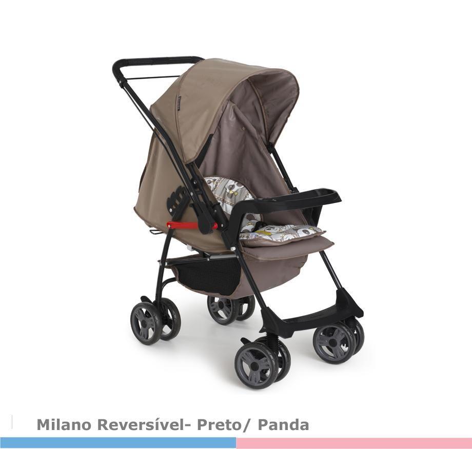 Carrinho de Bebê Milano Preto/Panda  Galzerano