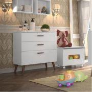 Cômoda para Quarto Infantil Retrô Colore 3 gavetas Branco Acetinado - Fiorello