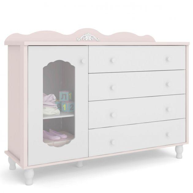 Cômoda Infantil Sonhare Rose Quartz 4 gavetas e 1 porta - Sapateira - Fiorello