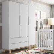 Guarda Roupa Infantil Smart Baby 3 portas e 2 gavetas Branco Acetinado (Pé artesanal) Fiorello