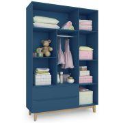 Guarda Roupa Infantil 3 portas e 2 gavetas Smart Baby  Blue Moon (Pé artesanal) Fiorello