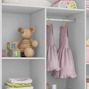 Guarda Roupa Infantil Smart Baby 3 portas e 2 gavetas Branco Acetinado (Pés retrô) Fiorello