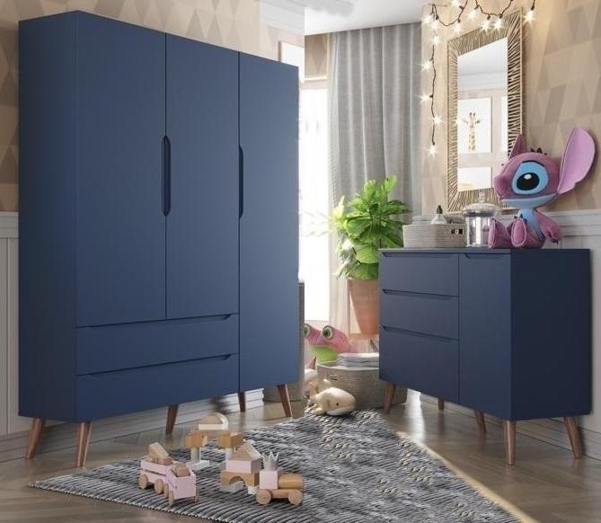 Guarda Roupa e Comoda  Smart Baby  Blue Moon (Pé Retro) Fiorello