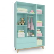 Guarda Roupa Infantil Smart Baby 3 portas e 2 gavetas Verde Menta (Pé artesanal) Fiorello