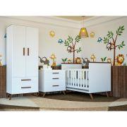 Quarto Completo Infantil Retro com Guarda-Roupa 2 Portas, Cômoda e Berço