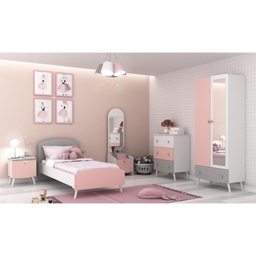 Quarto Completo Ternura 100% MDF com espelho Multimóveis Branco/cinza/Rosa