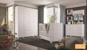 Quarto Infantil Angel com Guarda-Roupa 4 portas, cômoda 1 porta e 3 gavetas e berço Angel cor Branco