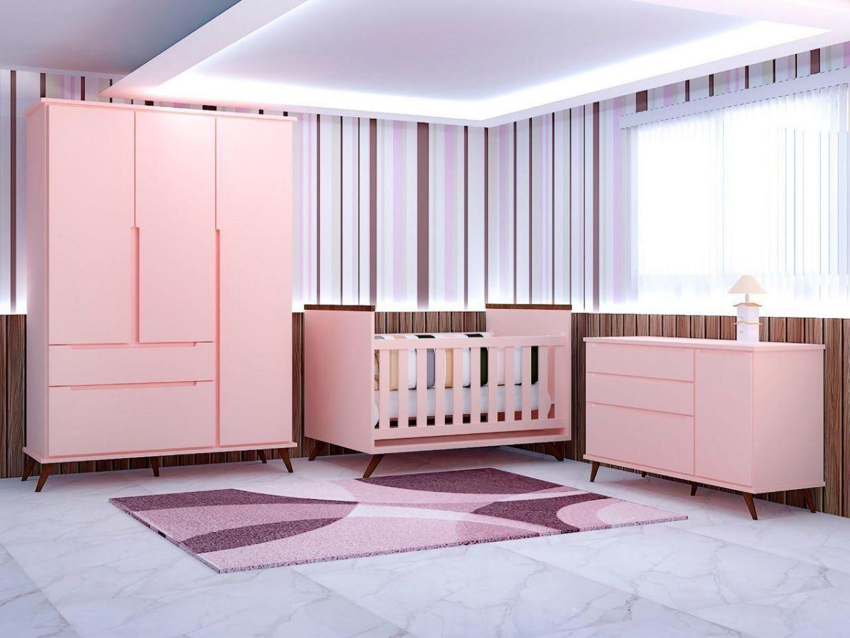 Quarto Infantil Dinda Rosê Completo composto por Guarda-Roupa + Cômoda + Berço