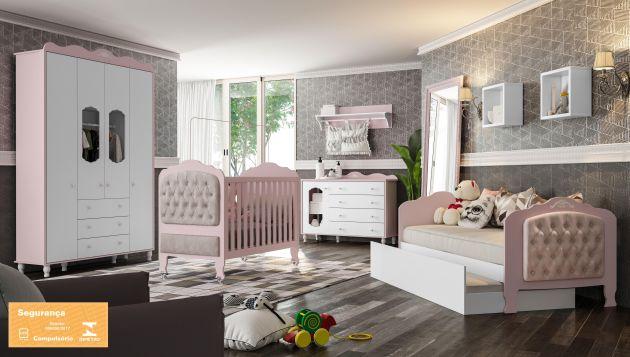 Quarto Infantil Sonhare Rose Quartz com Berço Sonhare e 3 em 1 - Fiorello