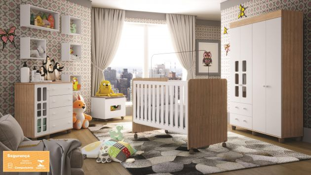 Quarto Infantil Naninha com Guarda Roupa 4 portas, Cômoda Sapateira e Berço 3 em 1 Visione - Duetto