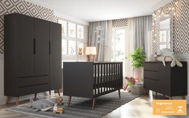 Quarto Bebê Smart 3 Portas com Berço Colore Chumbo Retrô - Fiorello