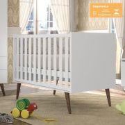 Quarto Bebê Smart 3 Portas com Berço Smart Branco Acetinado Retrô - Fiorello